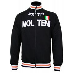 This wonderful retro-inspired sweater is our take on the cycling team's original wool jersey issued to the pros. Applique Letters, Sweater Jacket, Motorcycle Jacket, Cycling, Zip, Retro, Sweaters, T Shirt, Jackets
