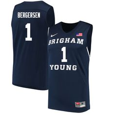 Men  1 Rylan Bergersen BYU Cougars College Basketball Jerseys Sale-Navy d90db2707