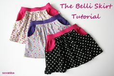 Belli Skirt Tutorial (Little girls skirt with pockets tute. Sewing Kids Clothes, Sewing For Kids, Baby Sewing, Diy Clothing, Clothing Patterns, Little Girl Skirts, Diy Vetement, Couture Sewing, Skirts With Pockets