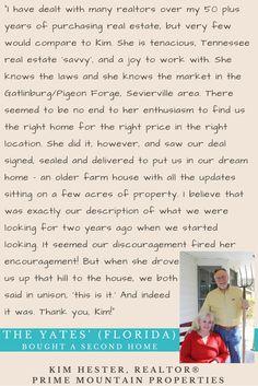 The Yates' (Florida) - Bought a Second Home in the Smokies #smokies #tn #realestate #realtor #kimhestertn #farmhouse #acreage #sevierville #pigeonforge #gatlinburg #review #testimonial #florida #secondhome #investment #home #acres #farm #tennessee #tn