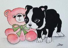Boston Terrier,original ACEO,watercolor Aceo,bookmark,watercolor, miniature art,collectable art,aceo.