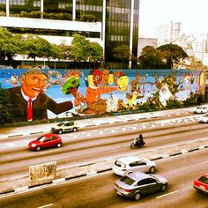 #OsGemeos, Nina Pandolfo e outros. Av. 23 de maio, São Paulo