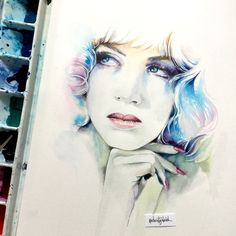 Watercolour portrait inspired by the album cover art for Savage by Eurythmics