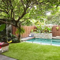 Inspired by a family trip to Bali, this compact garden includes kid-friendly zones and plenty of space for entertaining. Tropical Pool Landscaping, Tropical Backyard, Backyard Pool Designs, Backyard Landscaping, Tropical Gardens, Backyard Pools, Sydney Gardens, Casa Patio, Building A Pool