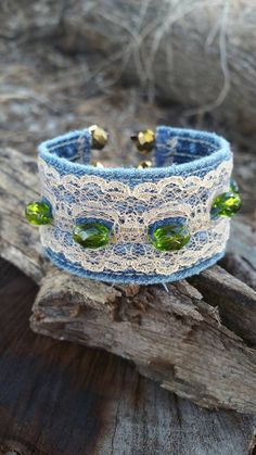 Check out this item in my Etsy shop https://www.etsy.com/listing/461307712/denim-cuff-bracelet-with-lace-and-green