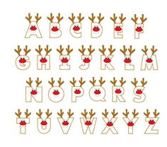 Christmas reindeer letters applique designs. via Etsy.
