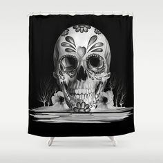 Pulled sugar, day of the dead skull Shower Curtain by Kristy Patterson Design | Society6