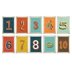 Vintage Number Wall Card Digital Download
