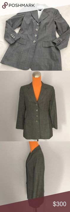 """Escada Medium Gray Plaid Print Long Button Coat 30"""" length 18.25"""" armpit to armpit. Is a 36, which is a small. Is a medium gray color with black and gold soft plaid pattern. Four buttons down the front. Front pockets that haven't been opened l. Shoulder pads. Vintage style. Lined inside. Excellent condition. Bundle 2+ items for a discount Escada Jackets & Coats Blazers"""