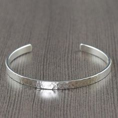 Unisex sterling silver cuff bracelet hammered texture for men or women