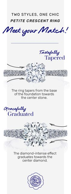 #DidYouKnow our newest Petite Crescent designs feature two diamond options on the ceiling, gracefully graduated or tastefully tapered. Discover these new slender silhouettes! - Graduated means the larger diamonds flank and frame the center-stone for a more diamond-intense effect, graduating down in size. (As shown) - Tapered means diamonds taper from the larger base towards the thinner center. Each style focuses on craftsmanship and comfort.
