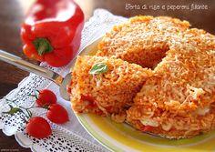 Torta di riso e peperoni filante