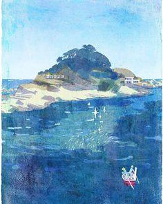 Niemon-jima island. 仁右衛門島#illustration #illustrator #niemon #island #sea #landscape #boat #blue #bluesky #waves #earth #art #japan #仁右衛門島 #イラスト