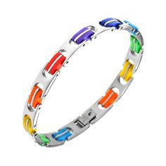 Gay Pride Rainbow Stainless Steel Bracelet ($20) ❤ liked on Polyvore featuring jewelry, bracelets, stainless steel, stainless steel bangles, stainless steel jewellery, stainless steel chains jewelry, rainbow jewelry and stainless steel jewelry