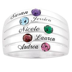 Family Name and Birthstone Stack-Look Ring