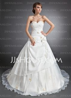 Wedding Dresses - $186.99 - Ball-Gown Sweetheart Cathedral Train Taffeta Organza Wedding Dress With Ruffle Lace Flower(s) (002015112) http://jjshouse.com/Ball-Gown-Sweetheart-Cathedral-Train-Taffeta-Organza-Wedding-Dress-With-Ruffle-Lace-Flower-S-002015112-g15112