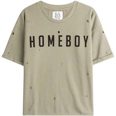 Zoe Karssen Homeboy Printed Cotton T-Shirt ($129) ❤ liked on Polyvore featuring tops, t-shirts, green, print tees, brown t shirt, green tee, cotton t shirts and holiday t shirts