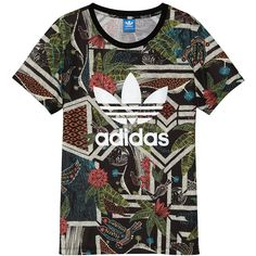 Adidas Tee Shirt (w) ($46) found on Polyvore featuring tops, t-shirts, shoes, women, womens clothing, xilofloresta print logo, black graphic tee, adidas tops, adidas tee and graphic t-shirts