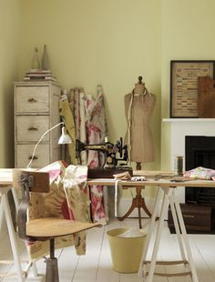 sewing room. love the color scheme and the vintage feel of the room---perfect for the middle room!