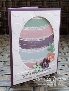 Work of Art Easter Egg by Wendy Lee, Stampin' Up! Easter Projects, Easter Crafts, Card Making Inspiration, Making Ideas, Holiday Cards, Christmas Cards, Egg Card, Origami, Scrapbooking