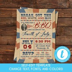 Self-Edit Template Printable of July Invitation, Fourth of July, Independence Day, Patriotic Inv Summer Birthday, 90th Birthday, Summer Bridal Showers, Company Party, Let Freedom Ring, Online Printing Services, Host A Party, Summer Parties, Perfect Party