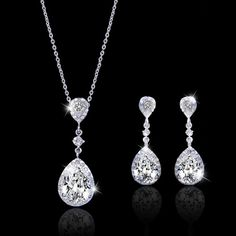 Flawless Zircon Tear Drop Bride Jewelry Set, Swarovski Crystal Wedding Set, Bridal Necklace Earring Set, Bridesmaid Jewelry-151884207