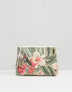 Star Mela Tropical Embroidered Clutch Bag (Ad)