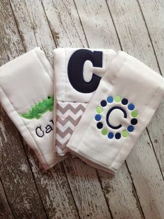 Set of 3 Personalized Burp Cloths - Diaper Cloths - Baby Boy - Monogrammed - Gift Set - Chevron - Gator -Alligator