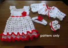 Crochet PATTERN baby dress shoes headband bolero in 5 size , 4  patterns in 1 , baby set crochet pattern