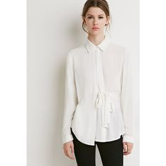 Love 21 Love 21 Women's  Contemporary Crepe Half-Wrap Shirt ($23) ❤ liked on Polyvore featuring tops, wrap shirt, long sleeve tops, long sleeve collared shirt, button-down shirts and tailored shirts
