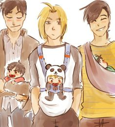 """Roy's like """"Look at my adorable baby"""" Ling's like """"Being a dad is awesome"""" and Ed's just like """"I didn't sign up for this..."""""""