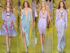 """MFW Spring 2014 Trends: Colorful Prints Edgy Flamboyance at Versace The idea that """"the street is the new catwalk"""" was Donatella Versace's source of inspiration for her spring 2014 collection which was all about """"boldness, energy, rock and casual luxury"""". The result? Edgy, modern looks with undeniable sexy vibe. Key pieces from the Versace spring 2014 line were skin grazing bra tops, mesh bandannas, circle skirts, bodycon minidresses with mesh and chain details and cropped moto jackets."""