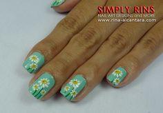 Dainty Daisies nail art design 01