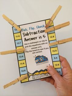 Subtraction Pick, Flip, Check Cards 10 Self Correcting Cards! Kids love to pick, flip and check! $