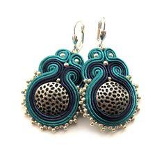 Elegant soutache earrings handmade embroidery cobalt by SaboDesign, $48.00