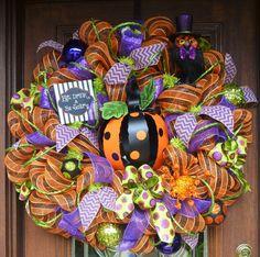 30 Deco Mesh POLKA DOT PUMPKIN Wreath by decoglitz on Etsy