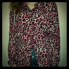 Rock 47 Fashionable Leopard Stripped Shirt Size L ♌               ♥      ☺  A Rock 47 Tops