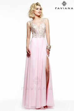 Faviana Glamour S7503 Chiffon floor length formal dress with lace bust.