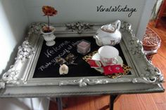 Once upon a tray table | VivaLaVintage see how I turned a bland tray table into a guest welcome station