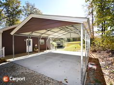 What could you do with a sweet #carport like this? Sure, you can park a car, but this featured 20'-wide #steel #shelter is also a great place for grilling out, hosting a family gathering, working on an outdoor project, giving the kids a shaded place to play, and more. Call (866) 311-0822 & mention ITEM: 20268VRC to connect with a friendly building specialist to personalize your own building! Metal Carports, Outdoor Projects, Outdoor Decor, Steel Structure, Metal Roof, White Trim, Great Places, Shelter, Connect