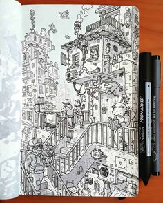Daniele Turturici is a concept artist, illustrator, and cartoonist from Italy. For more view website Sketchbook Drawings, Architecture Drawing Sketchbooks, Drawing Sketches, Doodle Art Drawing, Doodle Sketch, Ink Illustrations, Illustration Art, Ink Pen Drawings, Sketchbook Inspiration