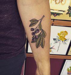 Blueberry branch tattoo by Erica Kraner