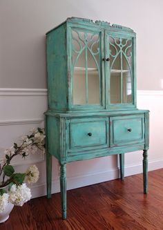 SOLD to Meghan - Antique Hand Painted Shabby Chic Distressed Turquoise / Aqua Blue Green China Hutch / Display Cabinet / Glass Cabinet by FrenchCountryDesign on Etsy