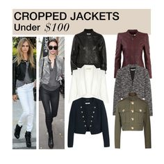 """""""Under $100: Cropped Jackets"""" by polyvore-editorial ❤ liked on Polyvore featuring Current/Elliott, Morgan, Alice + Olivia, Damsel in a Dress, Marc Jacobs, MANGO, under100 and croppedjackets"""