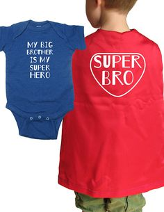 Big Brother Cape with Baby Sibling Shirt - Super Brother Superhero Cape w Matching Little Brother or Little Sister Top - Super hero https://etsy.me/2H8zlLR #clothing #children #tshirt #bigbrothershirt #bigbrother #brother #bigbro #sibling #cape