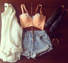 High waisted shorts and crop top #fashion #denim