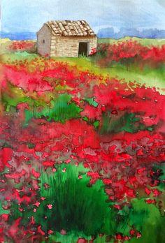 Campo de papoulas na Provença (Poppy field in Provence) - Aquarela - 2013 - 40 x 26 cm - by Silvana Pohl
