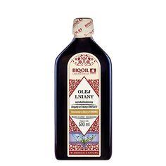 Doskonały wysokolinolenowy olej lniany tłoczony na zimno. Nierafinowany, niefiltrowany, doskonały do diety budwigowej. Sauce Bottle, Vodka Bottle, Bottle Opener, Barware, Oil, Arnica Montana, Butter, Tumbler