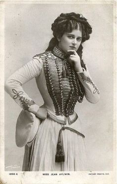 Original steampunk: Actress Jean Aylwin in military inspired costume, possibly for 'The Girls of Gottenburg' ca 1907