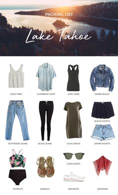 summer packing list / lake tahoe, ca - Trend Camping Outfits 2020 Weekend Trip Outfits, Weekend Trip Packing, Summer Packing Lists, Summer Camping Outfits, Vacation Outfits, Summer Outfits, Vacation Packing, Packing Tips, Travel Packing